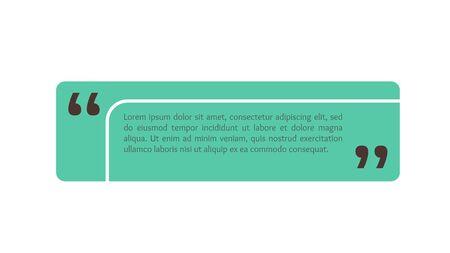 Casella di testo per citare, bolla rettangolare per commenti, design del segno. Modello di banner di citazione in stile piatto moderno. Fondo dell'illustrazione di vettore.