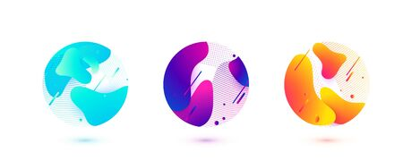Abstract circle liquid vector shapes. Fluid graphic design. Isolated gradient waves with geometric lines, dots in round form. Element design illustration