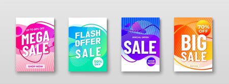 Sale offer abstract vector backgrounds with liquid gradient shapes, lines, promo text. Motion graphic fluid design for discount offer mobile app, advertising banner, poster Ilustrace