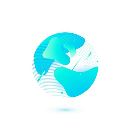 Earth modern globe vector illustration. Simple circle form with abstract blue shapes in trendy flat style Ilustrace