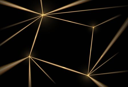 Gold and black background. Luxury texture geometric line pattern. Futuristic light network, graphic golden grid. Vector illustration