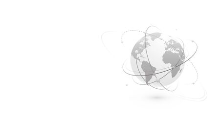 Global network world concept vector banner background with copy space at left side. Technology globe with continents map and connection lines, dots and point. Digital data planet design in flat style