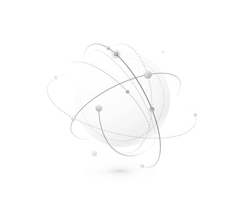Global network world concept vector background. Technology globe with light lines, dots and point. Digital data planet design in simple flat style, monochrome color Ilustrace