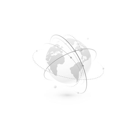 Global network world concept vector background. Technology globe with continents map and connection lines, dots and point. Digital data planet design in simple flat style, monochrome color