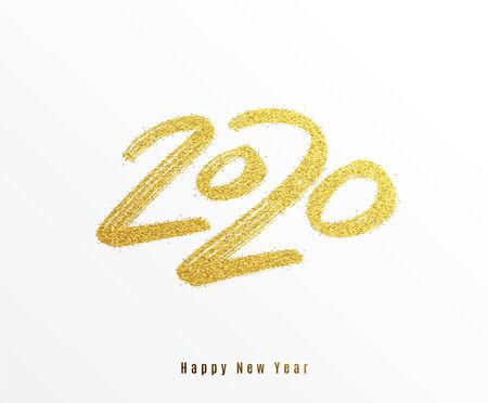 2020 happy new year vector background. Big gold calligraphy hand drawn number with creative golden glitter texture. Greeting text, premium card design