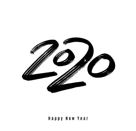 2020 happy new year vector background. Big calligraphy hand drawn black number. Greeting text, card design. Isolated on white