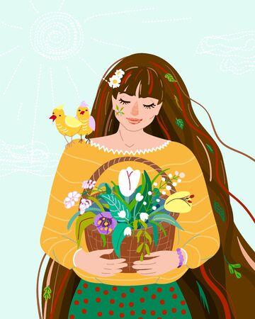 Woman like spring season. Beauty springtime flat female character hold in her hands basket with herb plants. Seasonal nature symbol chamomile, leaves, tulip, snowdrop, bird easter design illustration. Ilustrace