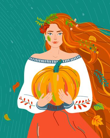 Woman like autumn season. Beauty fall flat female character with red orange hair for harvest, agriculture, farmer print. Seasonal nature symbol rain, rowan, maple, leaves, pumpkin design illustration