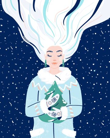Woman like winter season. Beauty wintertime flat female character hold in her hands fir-tree. Seasonal nature symbol of snowflakes, snow, gloves, spruce, coat design illustration.
