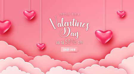 Happy valentines day greeting background in papercut realistic style. Paper clouds, flying realistic heart on string. Pink banner party invitation template. Calligraphy words text sign on copy space Standard-Bild - 135033115