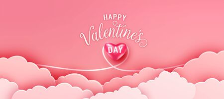 Happy valentines day greeting background in papercut realistic style. Paper clouds and realistic heart in love line. Pink banner party invitation template. Calligraphy words text sign on copy space Standard-Bild - 135033416