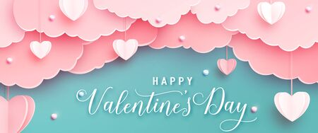 Happy valentines day greeting background in papercut realistic style. Paper hearts, clouds and pearls on string. Pink love banner party invitation template. Calligraphy words text sign on copy space Standard-Bild - 135033361