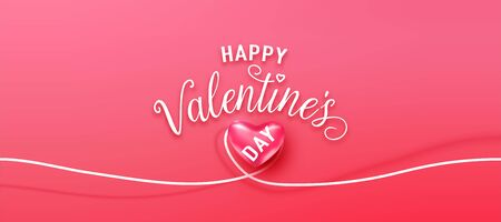 Happy valentines day greeting background in realistic style. Heart on white line the same shape. Pink banner party invitation template. Calligraphy words text sign on copy space Standard-Bild - 135033429