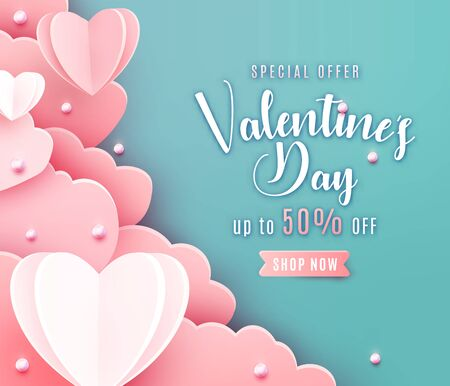 Valentines day sale background in trendy paper cut style. Paper clouds, hearts and realistic pearls border frame. Template sale banner, text offer 50 off Standard-Bild - 135033466