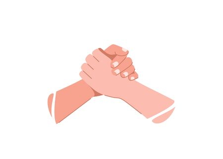 Help concept vector illustration. Two human hands hold each other
