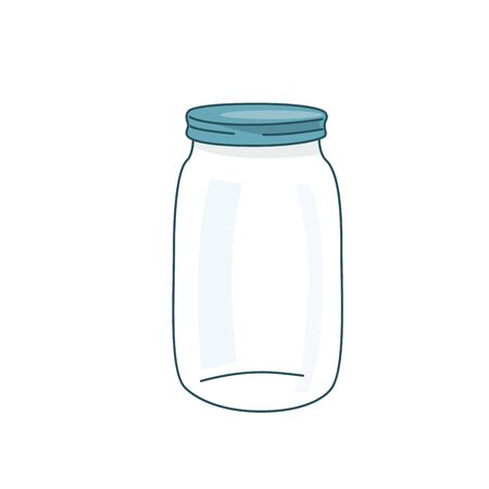 Empty glass jar vector illustration with lid. Cap close blank mason bottle. Simple flat cartoon background.