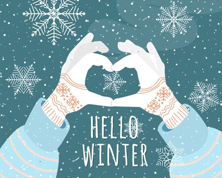 Hello winter holiday vector illustration background. Female hands with gloves folded in the shape of a heart. Snowflake in the center. Ilustrace
