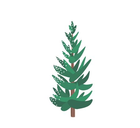 Fir tree with snow texture. Pine xmas vector illustration isolated on white background. Simple flat cartoon green spruce plant for christmas decorating Standard-Bild - 134982382