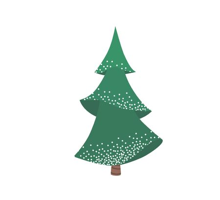 Fir tree with snow texture. Pine xmas vector illustration isolated on white background. Simple flat cartoon green spruce plant for christmas decorating. Standard-Bild - 134982073