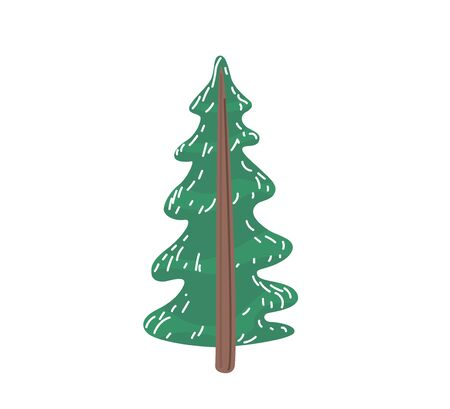 Fir tree with snow texture. Pine xmas vector illustration isolated on white background. Simple flat cartoon green spruce plant for christmas decorating. Standard-Bild - 134982012