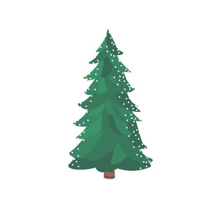 Fir tree with snow texture. Pine xmas vector illustration isolated on white background. Simple flat cartoon green spruce plant for christmas decorating Standard-Bild - 134983263