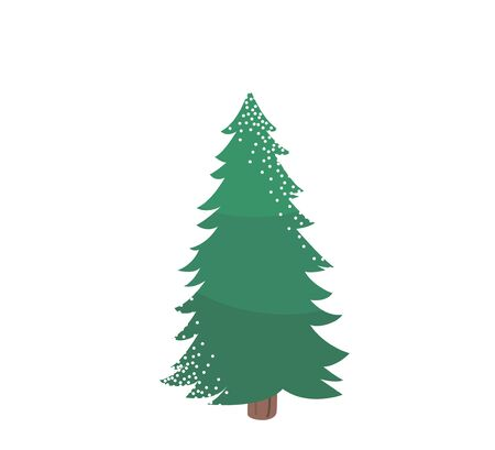 Fir tree with snow texture. Pine xmas vector illustration isolated on white background. Simple flat cartoon green spruce plant for christmas decorating Standard-Bild - 134983108