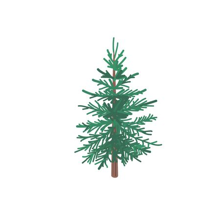Fir tree with snow texture. Pine xmas vector illustration isolated on white background. Simple flat cartoon green spruce plant for christmas decorating Standard-Bild - 134983195