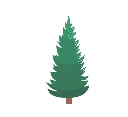 Fir tree with snow texture. Pine xmas vector illustration isolated on white background. Simple flat cartoon green spruce plant for christmas decorating Standard-Bild - 134983207
