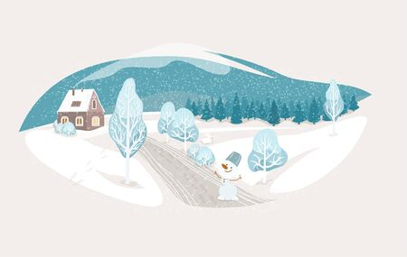 Winter isolated landscape vector background. Nature rustic scene with cute house, fir tree, road, snowman, hill. North outdoor snow home scenery. Standard-Bild - 134983620