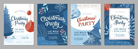 Christmas party invitation poster background in trendy flat style. Season holiday card set with snow, fir tree, snowflakes, christmas bauble and other graphic design elements. Winter decoration layout Standard-Bild - 134985045