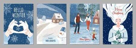 Winter poster background. Season holiday greetings set with people, snow, fir tree, house, snowflakes, snowman and other graphic design elements. Creative flat christmas and new year celebration card. Standard-Bild - 134985062