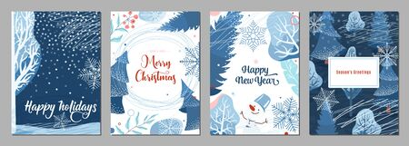 Winter poster background. Season holiday greetings set with snow, fir tree, berry, snowflakes, snowman and other graphic design elements. Creative modern flat christmas and new year celebration card. Standard-Bild - 134985122