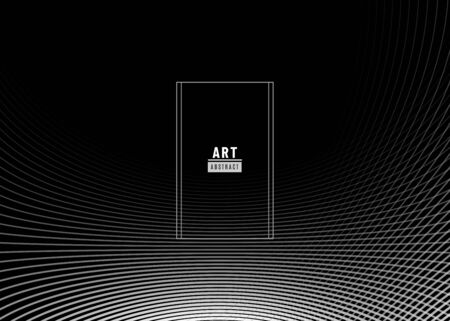 Abstract background design. Fluid flow grey gradient with geometric lines and light effect on dark black backdrop. Motion monochrome minimal concept with copy space. Vector illustration Standard-Bild - 135486698