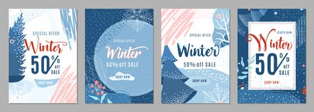 Winter sale poster set background. Winter-time gift discount offer banners in whimsical memphis modern flat style. Christmas ad flyer with snow, fir tree, snowflakes and texture graphic elements Standard-Bild - 135486694