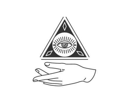 Hand with triangle, circle shape, all-seeing eye design element in simple flat esoteric line style. Vector illustration Illustration