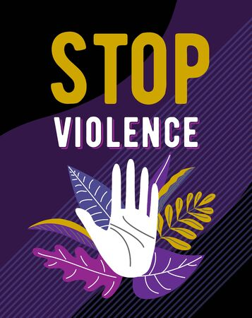 Stop violence against women poster design. Female hand open in stop gesture surrounded by leaves, plants on dark background. Vector illustration. Standard-Bild - 136008038