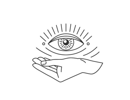 Hand with all-seeing eye design element in simple flat esoteric line style. Vector illustration Illustration