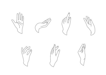 Hands vector set in simple flat line style isolated on a white background. Various gestures, poses of human hand in different situation. Vector illustration