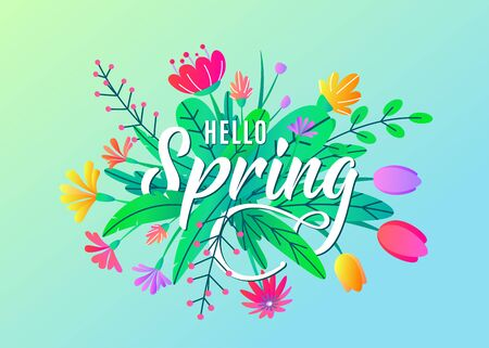 Hello spring greeting word text vector background with flat simple bloom flowers, leaves isolated on blue backdrop. Floral springtime graphic design illustration for poster, banner, card, invitation