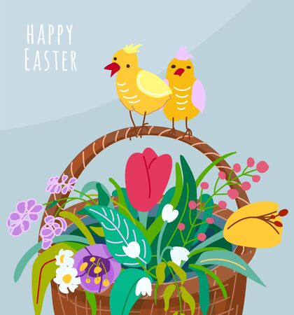 Happy easter greeting card with flower basket, two chickens on the handle of the pottle. Spring vector illustration with springtime floral plants color tulips, snowdrops, chamomile, grass