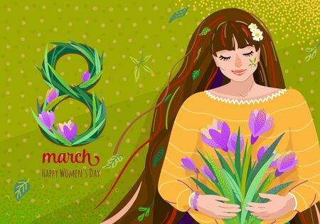 8 march greeting vector background. Happy womens day celebration card design with cute beautiful girl hold crocus flowers bouquet at her hands. Big eight with floral grass, text sign Illustration