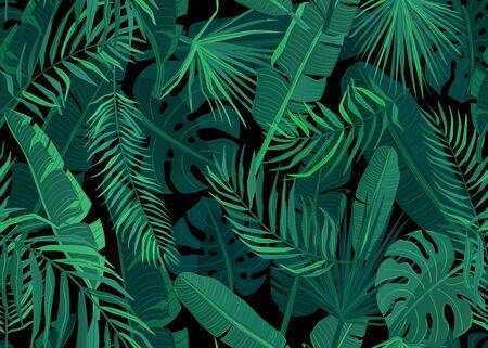 Tropic seamless pattern vector illustration. Tropical floral endless background with exotic palm, banana, monstera leaves on dark black backdrop Vektoros illusztráció