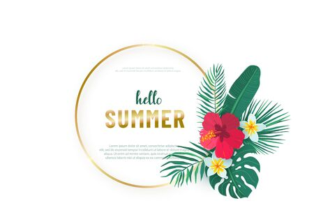Round gold frame with tropical hawaii flower leaves bouquet vector background. Composition with exotic plants in simple flat style for hello summer design. Tropic element isolated on white background