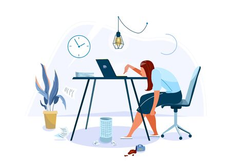 Tired female office worker sitting on the chair and trying work at the computer. Burnout concept vector background. Business flat cartoon illustration isolated on white backdrop