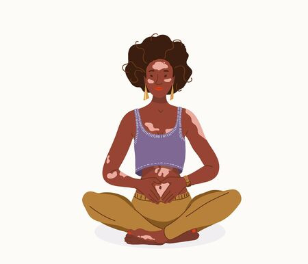 Love yourself with problem vitiligo skin vector background. Young happy positive african woman sitting in yoga posture. Girl fold her hands on her stomach, fingers formed heart shape