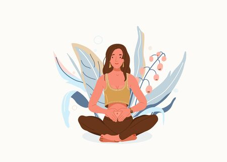 Love yourself vector background. Self-care body wellness concept. Young woman sitting in yoga posture. Girl fold her hands on her stomach, fingers formed heart shape. Happy meditate female character Illustration