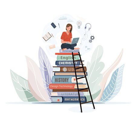 Girl sitting on pile of books with open laptop on her knees. Online library, study, e learning concept design. Vector illustration in trendy flat style isolated on white background.