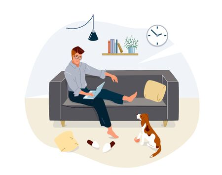 Work at home concept design. Freelancer man working on laptop sit on couch and his dog look at him with small ball near his paws. Vector illustration isolated on white background