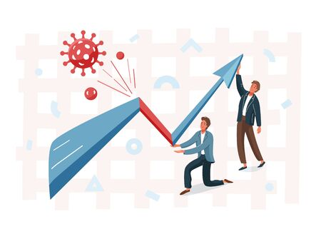 Business graph representing the stock market crash caused by the coronavirus. Overcoming the crisis with the help of businessman. Vector illustration of global finance economy after pandemic Иллюстрация