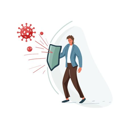 Protect business concept vector illustration of global finance economy after pandemic coronavirus crisis. Male character hold shield and defend from risk. Vector illustration modern economic reality Иллюстрация
